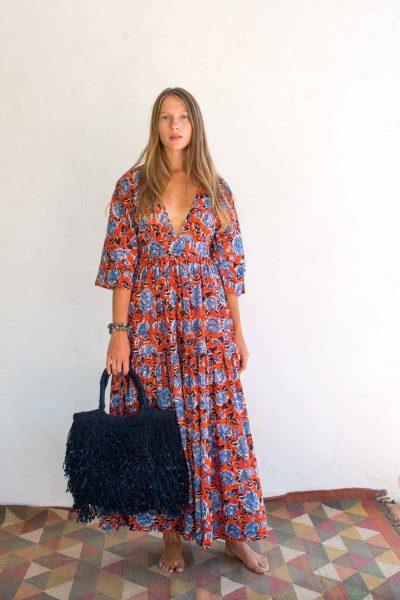 kimono dress with indigo jute bag
