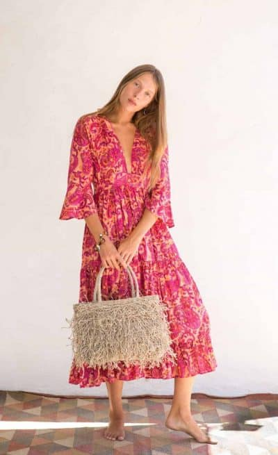 Mexican dress with natural coloured jute bag