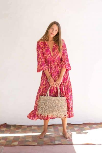 natural coloured jute bag with Mexican dress