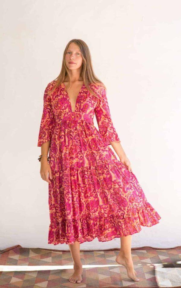 pink paisley print dress