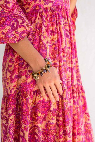 charm bracelet with carnelian stones
