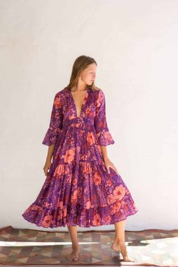 purple floral dress with a full skirt