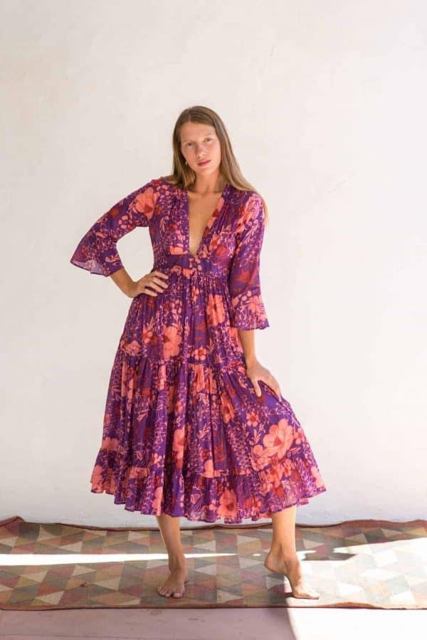 cotton purple floral dress