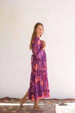 cotton dress in a purple floral print
