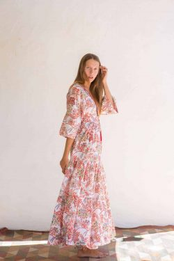 white and orange cotton dress in a floral print