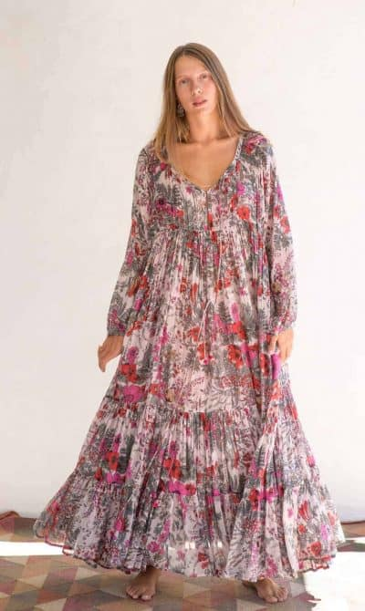 summer dress in a pink floral print