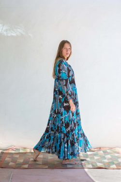 floaty summer dress in a blue and brown print