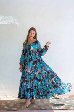 blue and brown bohemian summer dress