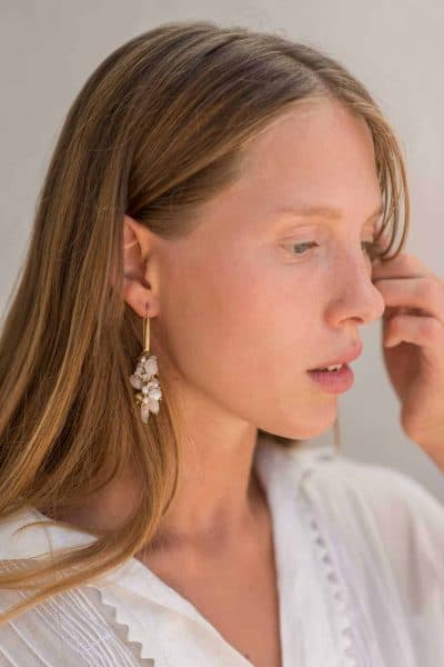 earrings with long hook findings and white gemstones