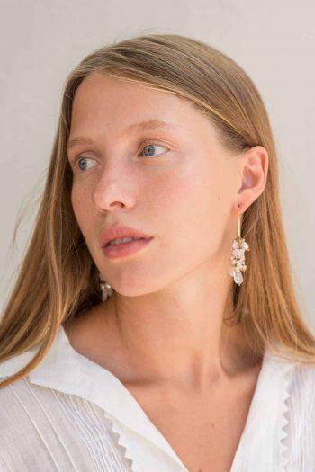 rose quartz cluster earrings
