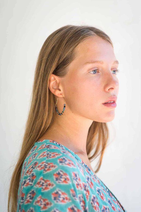 hoop earrings with blue gemstones