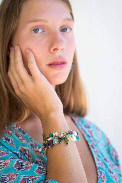 charm bracelet with turquoise stones