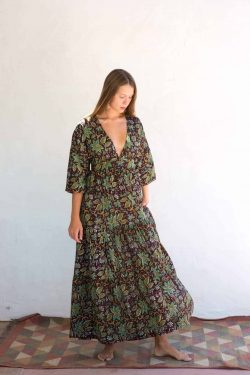 brown and green dress