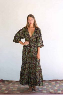 brown and green floral dress
