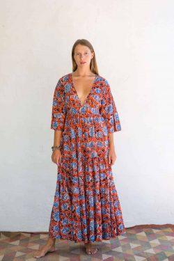orange blue floral cotton dress