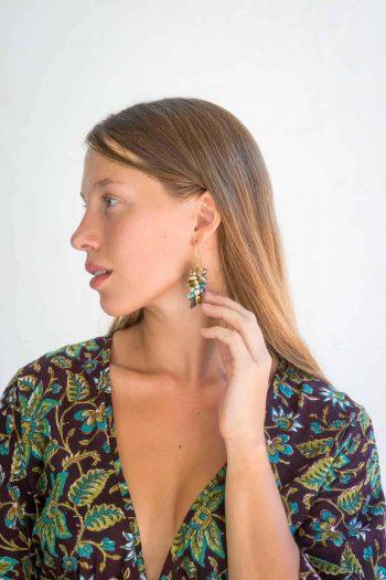 peridot and pearl cluster earrings