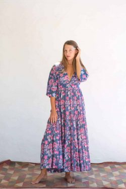 cotton dress in blue pink floral