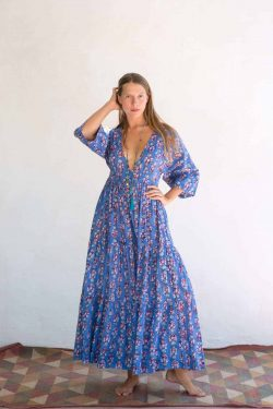 blue and orange dress in a cotton print