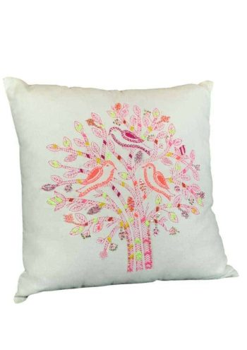 pink embroidered tree with birds on a white cushion