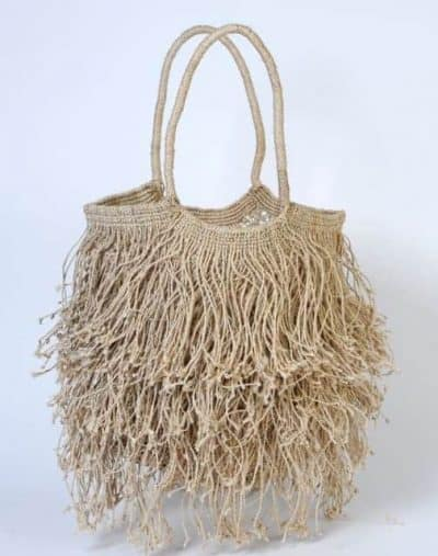 jute bag in a natural colour with fringes