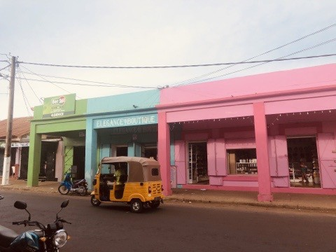 brightly painted buildings