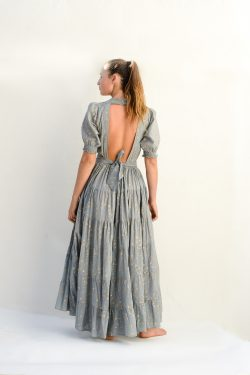 backless grey dress with gold stars