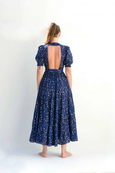 Backless dress in a navy star print