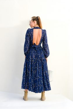 back view of a navy backless dress with gold stars