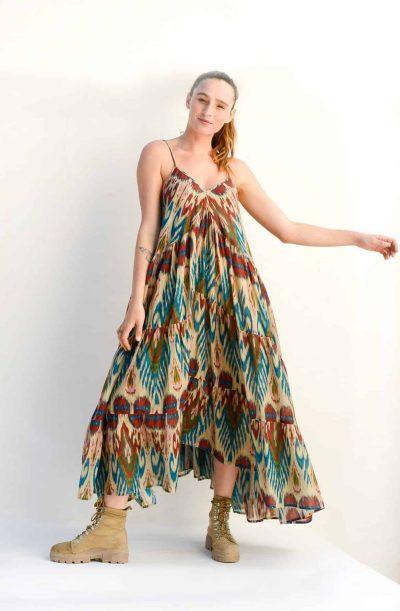 ikat print in cream Mediterranean dress