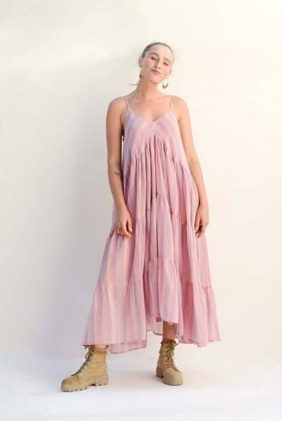 tiered cotton dress with pink stripes