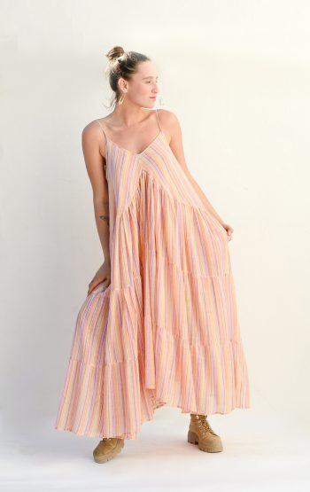 pretty cotton dress in orange with stripes