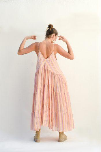 cotton dress in orange with stripes