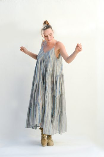 floaty summer dress in blue with stripes