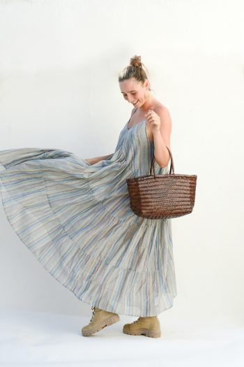 blue striped dress with three tiers