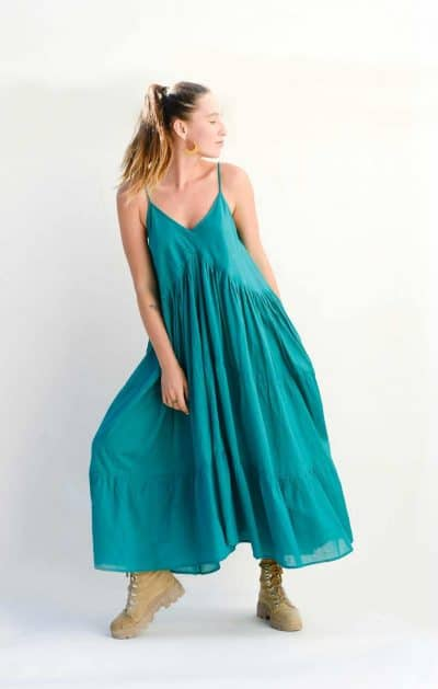 teal dress with three tiers and pockets