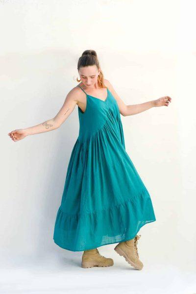 three tiered teal dress