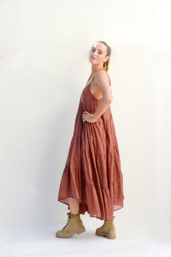 terra coloured dress with spaghetti straps