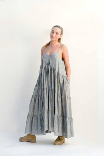 grey dress with gold stars and pockets