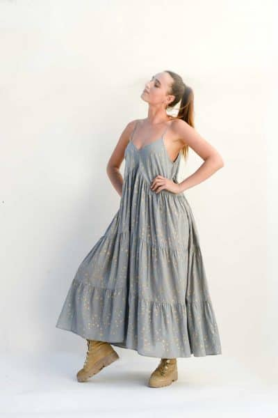 tiered floaty dress in grey with stars