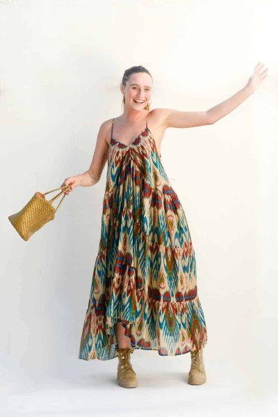 Mediterranean floaty dress with gold basket