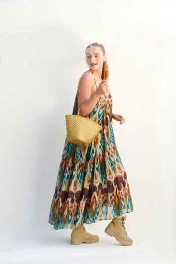 cream ikat dress with gold leather basket