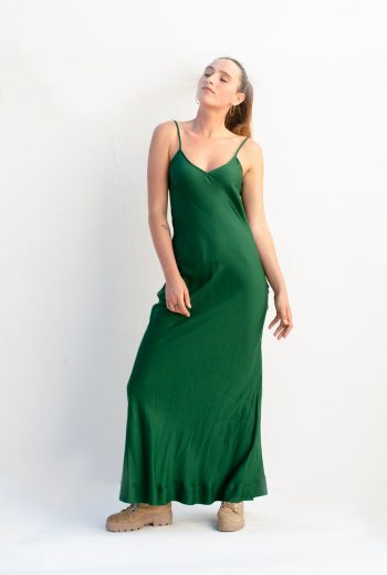 front view of a green modal slip dress