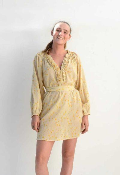 shirt dress with yellow stars