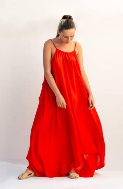 floaty angel dress in silk red