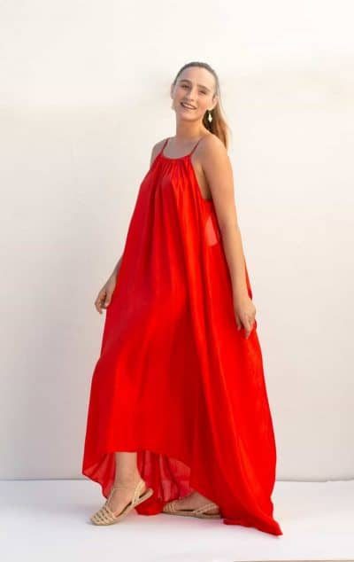 long red silk dress with spaghetti straps