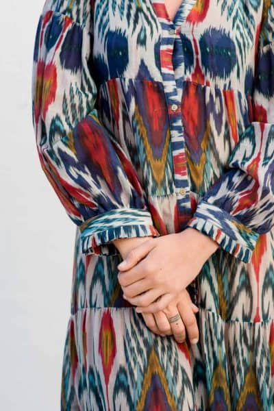 button up ikat print dress with frilled cuffs