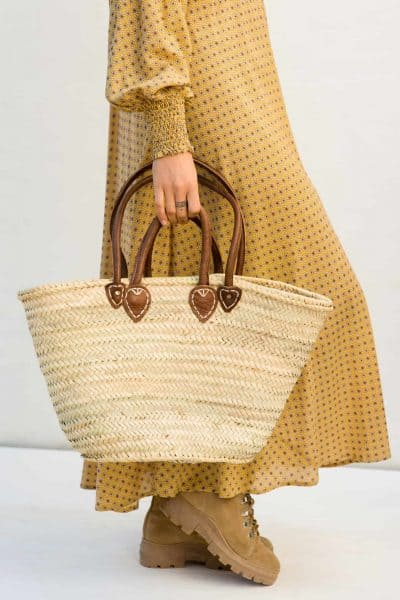 ibiza style basket with brown leather straps