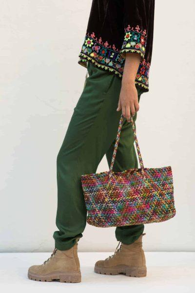 multicoloured leather basket bag with short straps