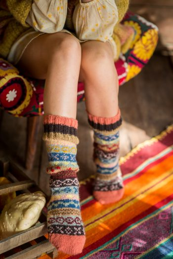 wool socks with multicoloured stripes