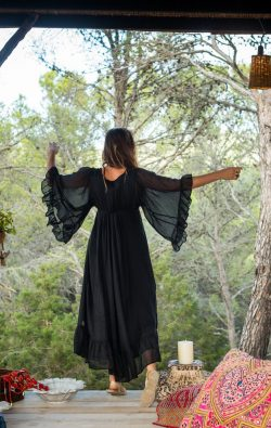 black dress with butterfly sleeves